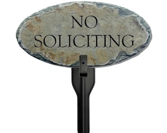 STONE NO SOLICITING Plaque w/ Stake ( No Trespassing ) Solicitors / Flowerbed Post sign / Tasteful