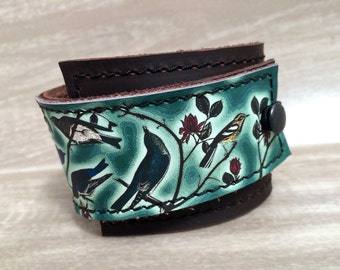 Leather Cuff Bracelet Women's Wrap, Emerald Birds of a Feather Digital Photo Print on 100% Genuine Leather