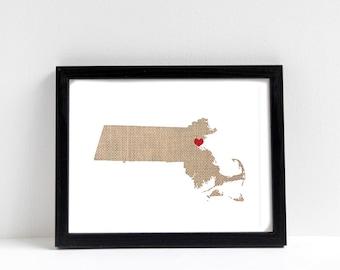 Massachusetts or ANY STATE Natural Art Print - State Art Print - Home Sweet Home - Boston Massachusetts Art Print