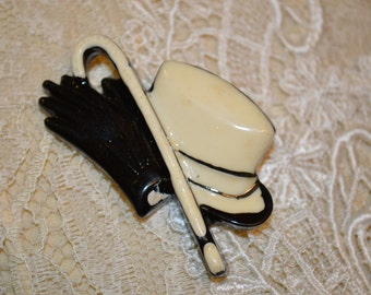 Very Vintage Top hat, gloves and cane  brooach
