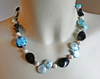 Special price, Keshi pearl necklace, Lampwork glass beads, turquoise, black, pearl necklace, CZ glass beads, gemstone necklace,