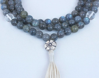 Grade A Labradorite Prayer Beads with Quartz & Silver Flower - Labradorite Mala Tassel Necklace - Buddhist Mala Beads - Mala Prayer Beads