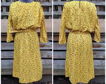 Vintage 1980's Lemon Yellow With Black Polka Dot Big Shoulder Pads Oversize Sleeves Dress