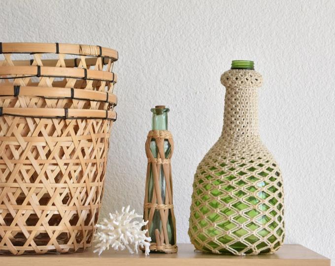green woven macrame glass vase / bud flower vase / plant holder