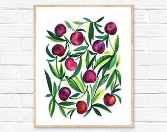 cherry watercolor cherry cherries watercolor watercolor painting kitchen decor kitchen art kitchen wall art cherry painting watercolor print