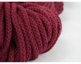 5 mm Dark Red Cotton Rope= 5 Yards= 4.57 Meters of Elegant Cotton Braided Cord Bulky Yarn Knitting Yarn Crochet Rope Macrame Cotton Cord