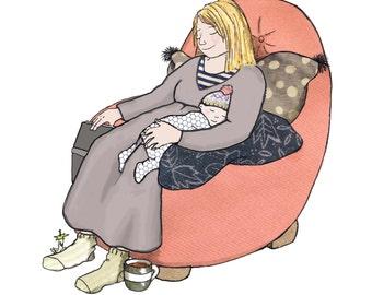 SNOOOZE impresos tarjeta de madre y bebé acurrucó rápido dormido en una silla cómoda juntos. La tarjeta perfecta de dar la bienvenida a un nuevo bebé.