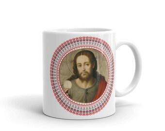 Christian Mugs - Jesus the Savior with Holy Eucharist - ceramic mug - catholic mugs - religious home decor