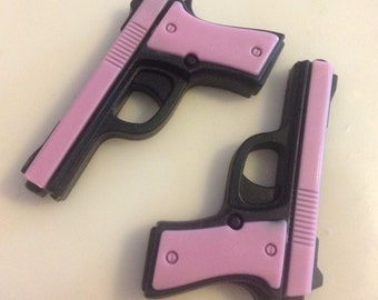 2 Pistol Soaps Pink/Black- CHOOSE ONE SCENT- Vegan guest bath decorative gun rifle shoot bullet