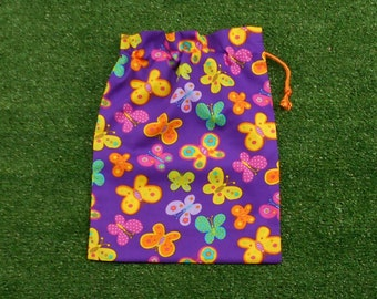 Butterflies small purple drawstring bag for gifts, trinkets, toys, treasures