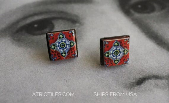 Stud Earrings Posts Red Tile Portugal Azulejo - Válega   - Stainless Steel Posts Ships from USA  Hypo Allergenic - for Her - Gift Boxed 598