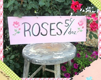 Sign, Raindrops on Roses Sign, Farmhouse, Shabby Chic Sign, Signage, Rose Sign, Pink Roses, Potting Shed, Greenhouse, Garden Sign