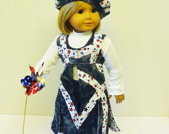 Fourth of July Vest, Jeans, Hat and Tee Shirt - Fits American Girl Doll Julie
