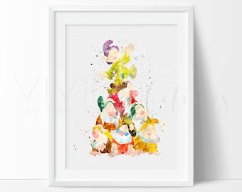 Seven Dwarfs Snow White Watercolor Print, Disney Princess Baby Girl Nursery Wall Art, Kids Room Decor, Bedroom Decor, B2G1 Free No. 353