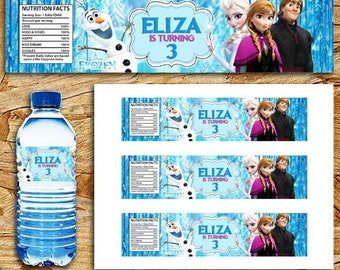 Frozen water bottle labels, Frozen water labels, Frozen Melted Snow, Disney Frozen Birthday Party Decorations