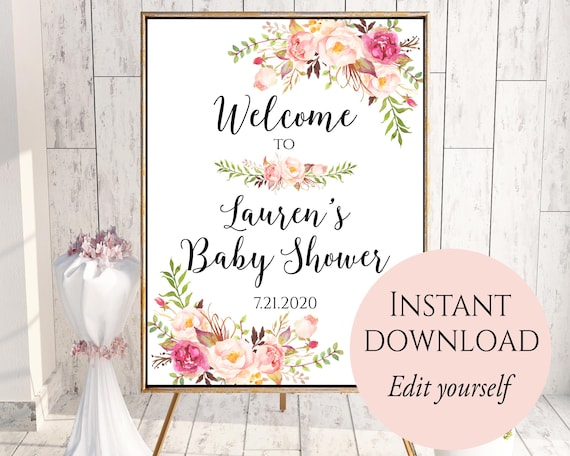 Welcome To Baby Shower Baby Shower Welcome Sign Template