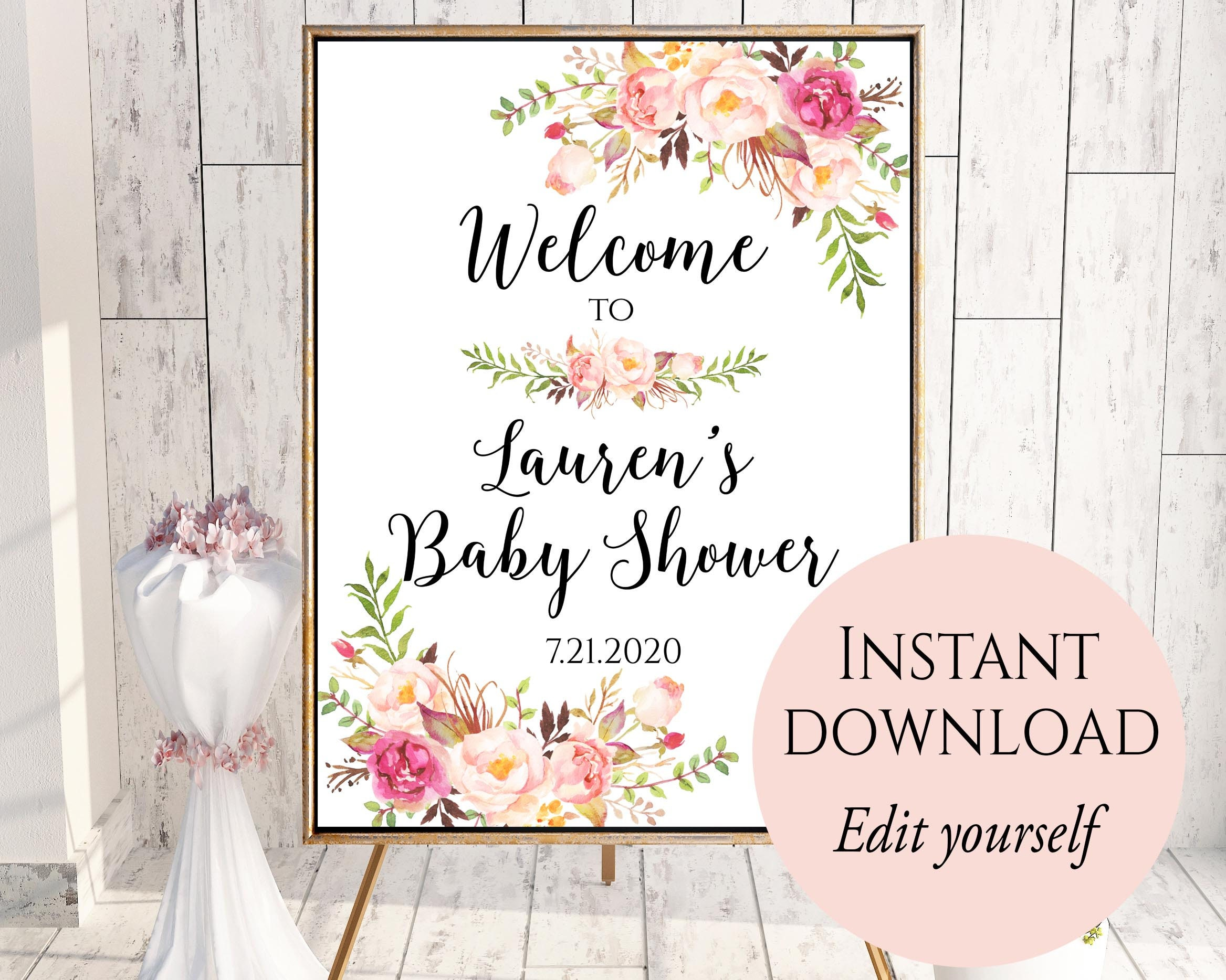welcome to baby shower baby shower welcome sign template. Black Bedroom Furniture Sets. Home Design Ideas