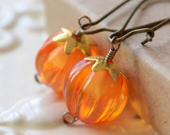 Pumpkin Earrings, Orange Beads, Antiqued Brass Kidney Earwires, Thanksgiving Autumn Halloween Jewelry