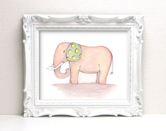Giclee Art Print - Happy Elephant Watercolor - Animal Painting Print - Original Art by Angela Weber