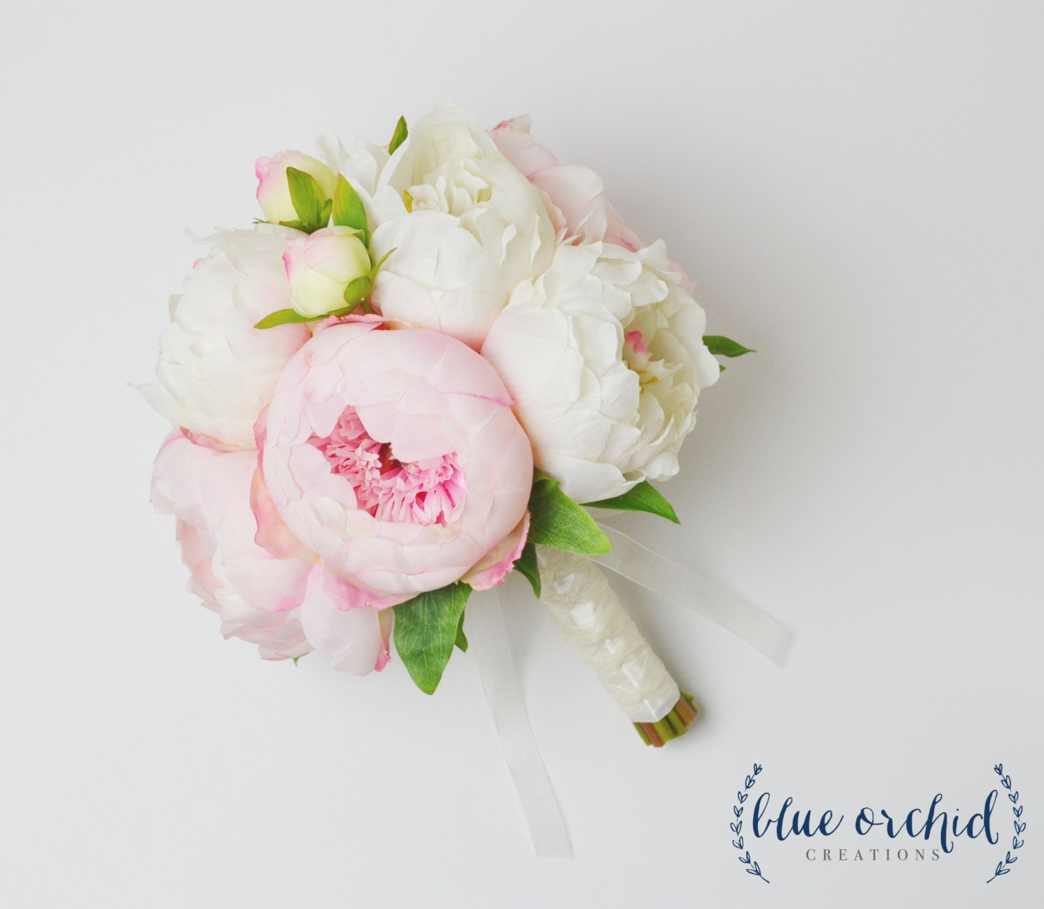 Bouquet with white and pink peonies silk peony wedding zoom mightylinksfo Image collections
