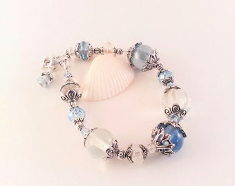 Blue beaded bracelet, blue bracelet, beaded bracelet, boho chic bracelet, beaded boho bracelet, light blue bracelet, boho bracelet, bohemian