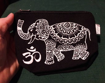Hand painted Lucky Mandala Elephant Pouch