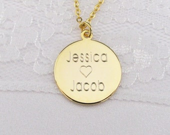 Personalized Name Charm Necklace in Gold Plated, Silver Plated or Rose Gold Plated Finish Disc Charm