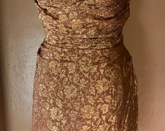 VaVaVOOM Gorgeous 1950's Gold Lurex Hourglass Wiggle Dress VLV