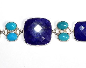 Lapis and Turquoise Bracelet in .925 Sterling Silver