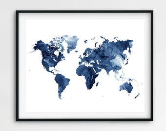 World map watercolor print world map poster watercolor grey world map print world map poster world map art watercolor blue and white gumiabroncs Gallery