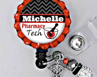 Retractable ID Badge Reel - PHARMACY Tech- Personalized Badge ID Reel - Pharmacy- Can put any Title (E21)