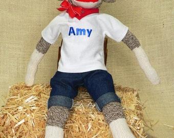 "Personalized Sock Monkey - Rockford Red Heel Socks - 18"" Tall"