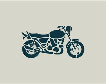 Motorcycle. Motorcycle stencil. Motorcycle drawing (ref 403)
