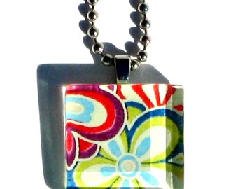 flower power - mini glass tile and chiyogami pendant necklace
