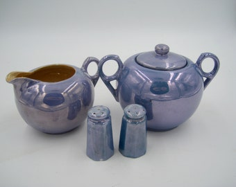 Japanese Lusterware Cream, Sugar, and Salt and Pepper Set, 5 pieces in all, good condition