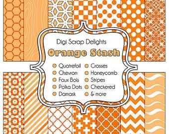 Orange Digital Scrapbook Paper for Commerical Use: scrapbooking, web design, card making, etc., Instant Download