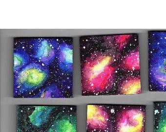 Mini Canvas With Easel Multicolor Vibrant Original Watercolor Galaxy Space Nebula Night Sky Stars