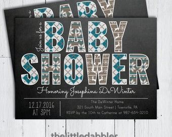 Printable Winter Baby Shower Invitation -- Blue Grey Ugly Christmas Sweater Chalkboard Shower Invitation -- PNG & JPG