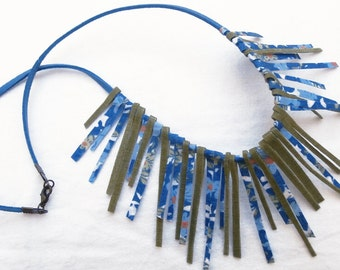 textile necklace of blue-green cotton fabric sticks-hawaiian style-free shipping to Greece