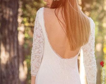 Ivory Bohemian Wedding Dress Beautiful Lace Wedding Long Gown Boho Gown Bridal  Sleeves Wedding Dress - Handmade by SuzannaM Designs