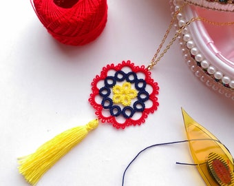 Tatting lace pendant, colorful gorgeous light jewelry with tassel