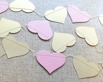 Gold and Glitter Pink Heart Paper Garland, Double-Sided, Bridal Shower, Baby Shower, Party Decorations, Birthday Decoration