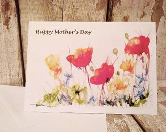 Mothers Day Card, Poppy Meadow, Celebration, Watercolour Art Print card by Be Coventry, Wildlife Artist