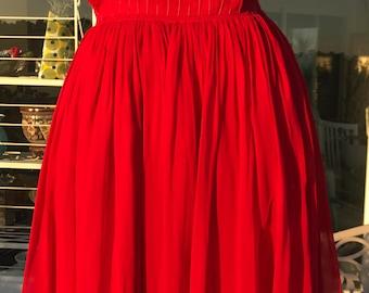 Vtg. 50's Bright Red Chiffon Dress XS/S