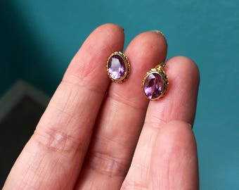 Amethyst Earrings - 14K Gold - Vintage