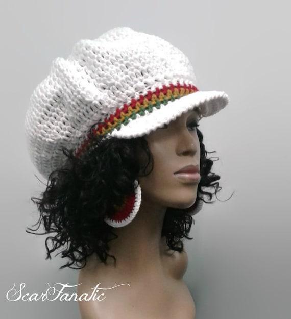 Pattern Only Easy Crochet Rasta Brimmed Beanienewsboy Hat