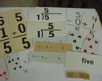 Vintage Math Flash Cards, All About Five, 5's,  Scrapbook Kit, Older/Newer, Playing Cards, Addition, Substraction, Division, Multiplication