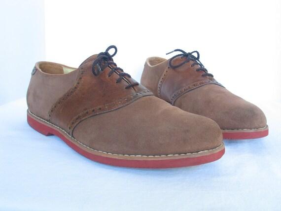 Tan Suede-Leather Saddle Oxfords FLORSHEIM Men's 10 F