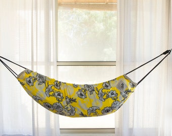 Baby Hammock  Swing -  Zaza Nature - Designer Limited Editon . Yellow Flowers . Natural Cotton Cradle Crib Nursery indoor swing nest swing