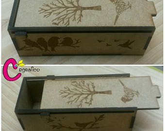 Decorative box in MDF engraved in laser